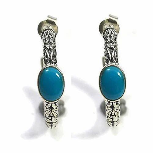 42f16b16b 925 Sterling Silver Hoop Earrings Turquoise at Rs 1500 /pair | 925 ...