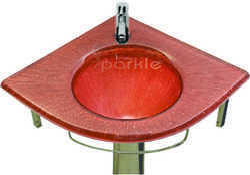 Brown Glass Corner Wash Basin Set