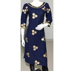 Blue Gold Printed  Embroidery Kurti