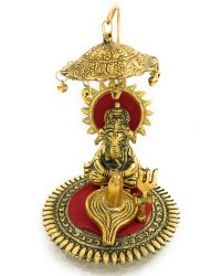 Gold Plated Ganesha With Shivling Under Umbrella