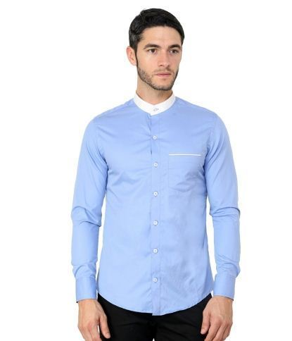 9d3c5c36f05 Sky Blue White Band Smart Casual Slim Shirt at Rs 539  piece ...