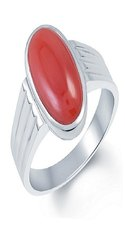 Red Coral Ring With Natural Moonga 5.25 Carat Stone Lab Certified & Astrological