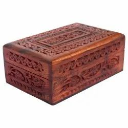 Handmade Wooden Jewellery Box with Intricate Carvings & Gift Items- 7 X 5 inches