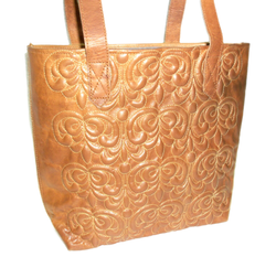 Embossed Designer Leather Tote Bag