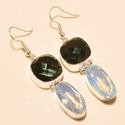 Ethnic Style Multi Gemstone Dangle Statement Earrings