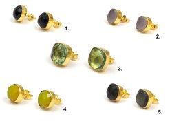 Multi Gemstone Stud Earring Set