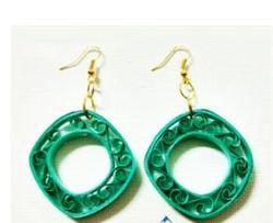 Sea Green Square Handmade  Earring