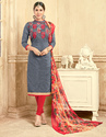 Cotton Red Stylish Embroidered Ladies Salwar Suit
