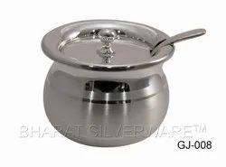 Pure Silver Ghee Jar With Ghee Spoon