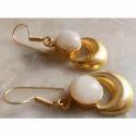 Druzy Gemstone Gold Plated Brass Earrings