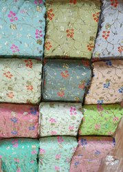 Party Wear Bamboo Silk Embroidery Designer Fabrics