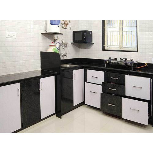 Pvc Modular Kitchen Manufacturer From: Black & White L Shape PVC Modular Kitchen, Rs 550 /square