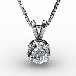Party Wear Sterling Silver Solitaire Necklace
