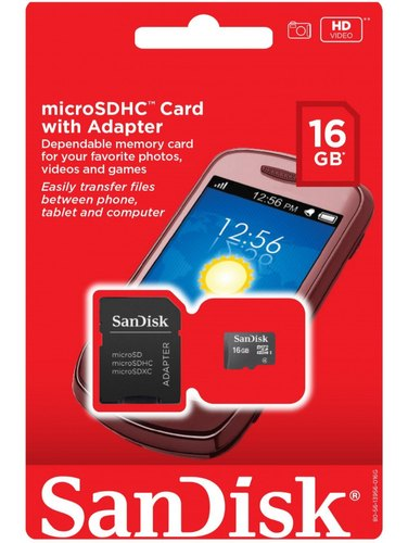 b29d3183e6d SanDisk 16GB Mobile MicroSDHC Class 4 Flash Memory Card with Adapter- SDSDQM -016G-