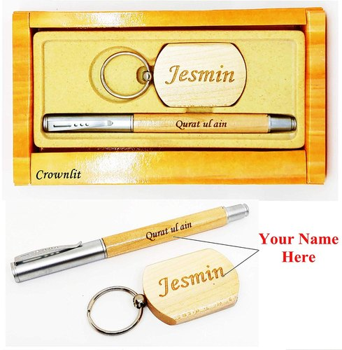 Personalized Premium Wooden Pen With Jotter Refill And Keychain