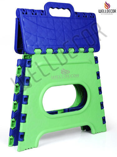 Plastic Folding Stool, 12 Inch (Multi Color)