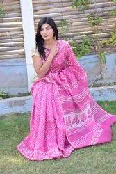 Bagru Hand Block Print Chanderi Saree