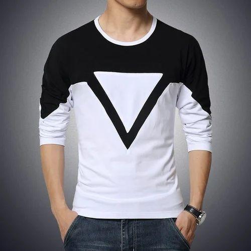 Medium Large Cotton Men Round Neck Full Sleeve T Shirt
