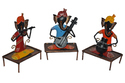 Master Crafts Multicolor Iron Hand Painted Standing Ganesh Ji Musician Set Of 3