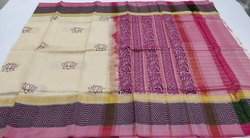 Silksaree Handblock Print Kanchipuram Soft Silk Saree, Use: Sarees
