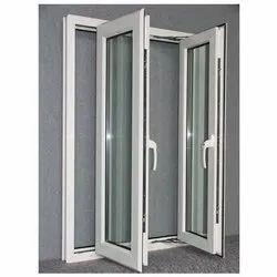 Modern White Aluminium Glass Window, For Office