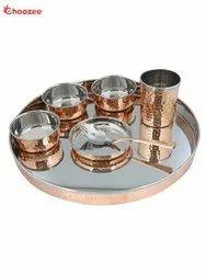 Copper Thali Set (7 Pcs) of Thali, Bowl, Spoon & Glass