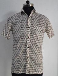 Mens Shirt Hand Block Printed Cotton Fabric