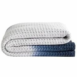 Shabana Collection Dip Dye Waffle Weave Cotton Throw Blanket