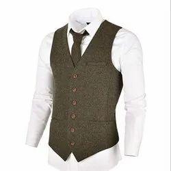 Slim Sleeveless Mens Khadi Vest Coat