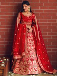 Trendy Heavy Silk Embroidered Red Lehenga Choli By Parvati Fabric (76620)