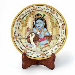 Gold Marble Bal Krishna Decorative Plate 395