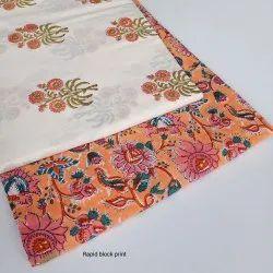 44-45 Cotton Fancy Rapid Block Print Fabric, GSM: 100-150
