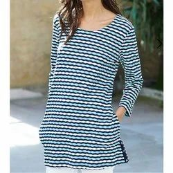Printed 3/4th Sleeve Yarn Dyed Knitted Ladies Long Top