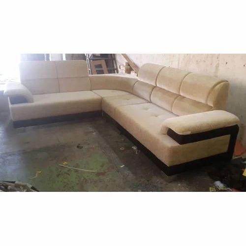 5 Seater Cream Wooden L Shape Sofa
