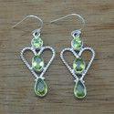 Beautiful Peridot Gemstone 925 Sterling Silver Earrings