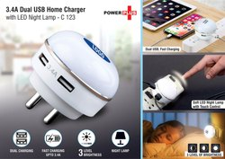 C123 Dual USB Fast Charger With Night Lamp
