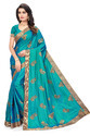 Self Design Silk Blue Saree