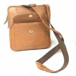 Plain Brown Ladies Leather Messenger Bag, Size: 40x10 Cm
