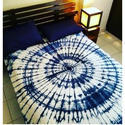 Tie Dye Printed Blue And White Bed Sheet With Pillow Covers