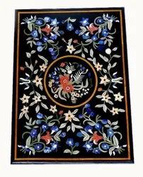 Black Marble Table Top Precious Stone Inlay Work