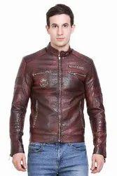 Full Sleeve Leather Look Jacket