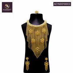 Gold Plated Designer Long Necklace Set
