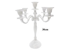 Candelabra with 5 Arms White Finish Candle Holder