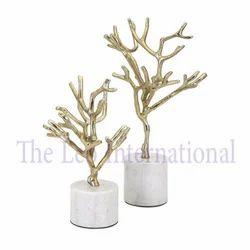 Decorative Metal Tree Sculpture Golden Finish