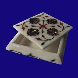 Italian Marble Jewellery Box with Inlay Design