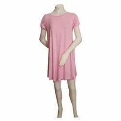 Round Neck Plain Ladies Tunic Dress, Machine wash