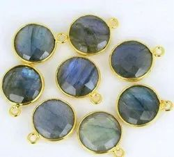 Black Rainbow Labradorite Faceted Cut Connectors Gold Plated 925 Sterling Silver Findings