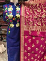 Ladies Silk Salwar Suit, Hand Wash, Machine Wash