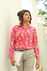Nine2five Cherry Red Floral Print Crepe Formal Shirt