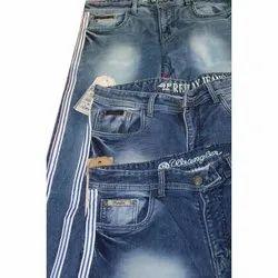 Zipper Faded Mens Denim Jeans